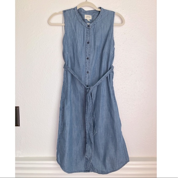 J. Crew Dresses & Skirts - J Crew button down denim dress tie waist size XS